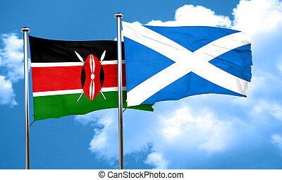 Kenya flag with Scotland flag, 3D rendering