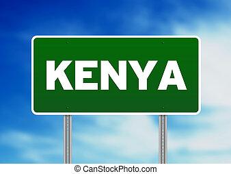 Kenya Highway Sign - Green Kenya highway sign on Cloud...