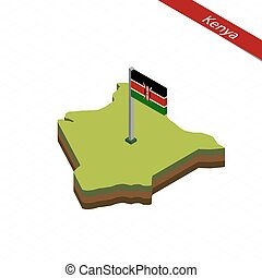 Kenya Isometric map and flag. Vector Illustration.