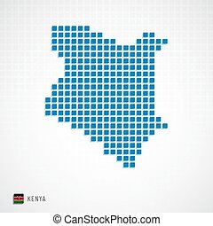 Kenya map and flag icon