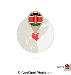 Kenya map and flag in circle. Map of Kenya, Kenya flag pin....