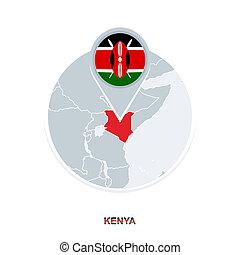 Kenya map and flag, vector map icon with highlighted Kenya
