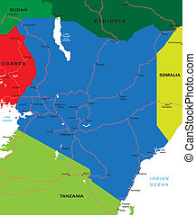 Kenya map - Detailed vector map of Kenya with country...