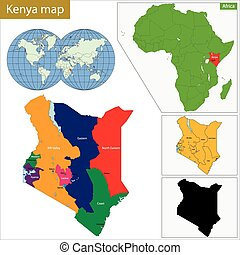 Kenya map - Administrative division of the Republic of Kenya