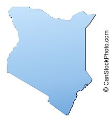 Kenya map filled with light blue gradient. High resolution....
