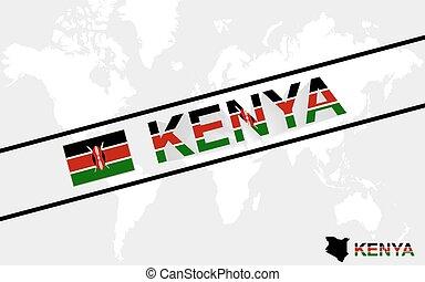 Kenya map flag and text illustration