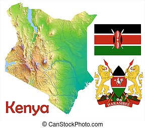 Kenya map flag coat