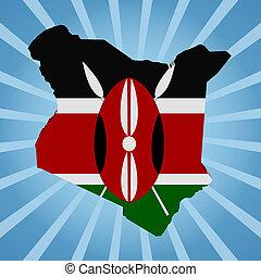 Kenya map flag on blue sunburst illustration