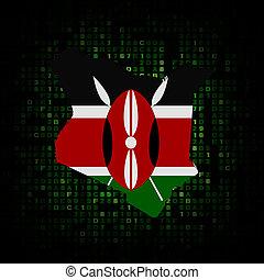Kenya map flag on hex code illustration