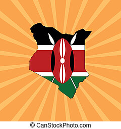 kenya map flag on sunburst