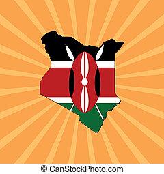 kenya map flag on sunburst