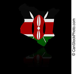 Kenya map flag with reflection illustration
