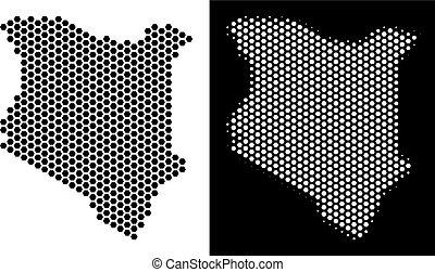 Kenya Map Hexagonal Mosaic
