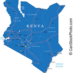 Kenya map - Highly detailed vector map of Kenya with...