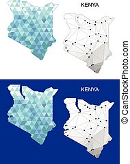 Kenya map in geometric polygonal.