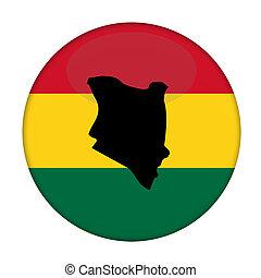Kenya map on a Rastafarian flag button