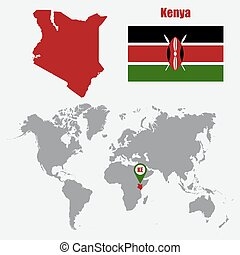 Kenya map on a world map with flag and map pointer. Vector illustration