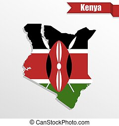 Kenya map with flag inside and ribbon
