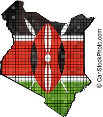 Kenya map with flag inside