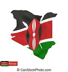 Kenya map with waving flag of country.