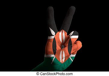 kenya national flag two finger up gesture for victory and winner