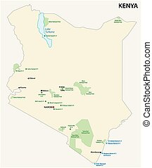 kenya national park vector map