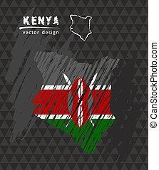 Kenya national vector map with sketch chalk flag. Sketch chalk hand drawn illustration