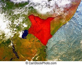 Kenya on illustrated globe