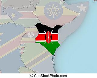 Kenya on political globe with flag