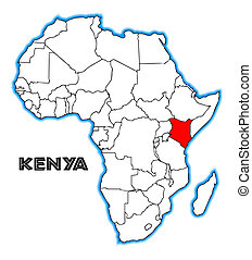 Kenya outline inset into a map of Africa over a white background