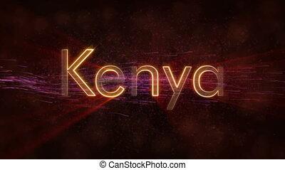 Kenya - Shiny looping country name text animation - Kenya...