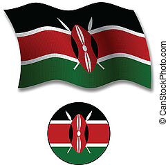 kenya textured wavy flag vector