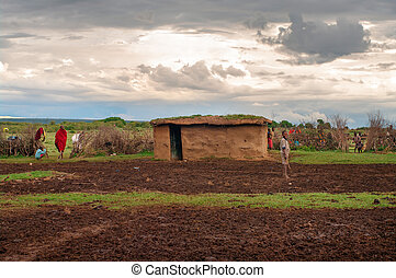 kenya., traditionele , maasai, dorp