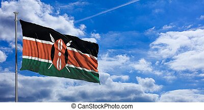 Kenya waving flag on blue sky. 3d illustration