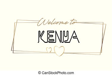 Kenya Welcome to text Neon lettering typography. Word for logotype, badge, icon, postcard, logo, banner Vector Illustration.