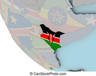 Kenya with flag illustration