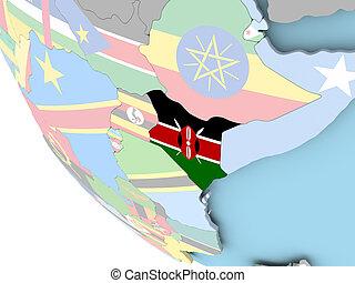 Kenya with flag on globe