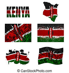 Kenyan flag collage - Kenya flag and map in different styles...