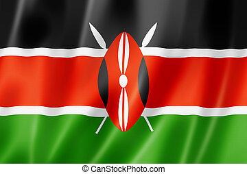 Kenyan flag - Kenya flag, three dimensional render, satin...
