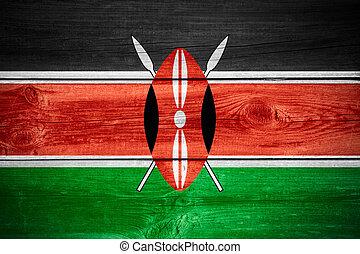 Kenyan flag - flag of Kenya or Kenyan banner on wooden...