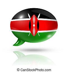 Kenyan flag speech bubble - three dimensional Kenya flag in...