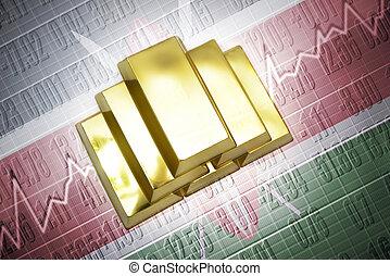 kenyan gold reserves - Shining golden bullions lie on a...