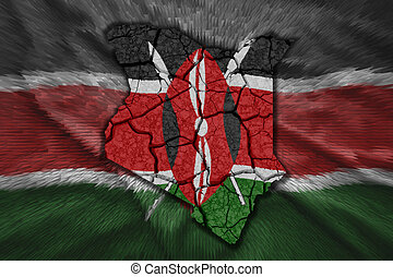 Kenyan Map - Map of Kenya in National flag colors