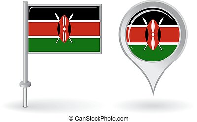 Kenyan pin icon and map pointer flag. Vector illustration.