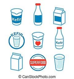 kephir, heiligenbilder, superfood, farbe, satz, vektor, milch, gegoren, -, produkt, oder, kefir
