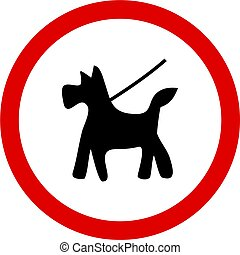 kepp dog on lead - Keep your dog on a lead sign isolated on...