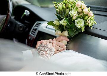 kept, buquet, car, noivo, anéis, noiva
