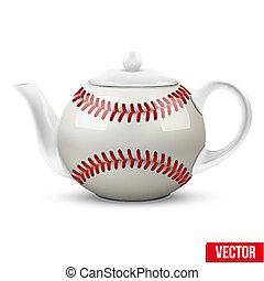 kerámiai, teáskanna, alatt, baseball labda, style., labdarúgás, vektor, illustration.
