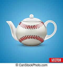 kerámiai, teáskanna, alatt, baseball labda, style., vektor, illustration.