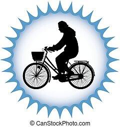 kerékpáros, árnykép, vektor